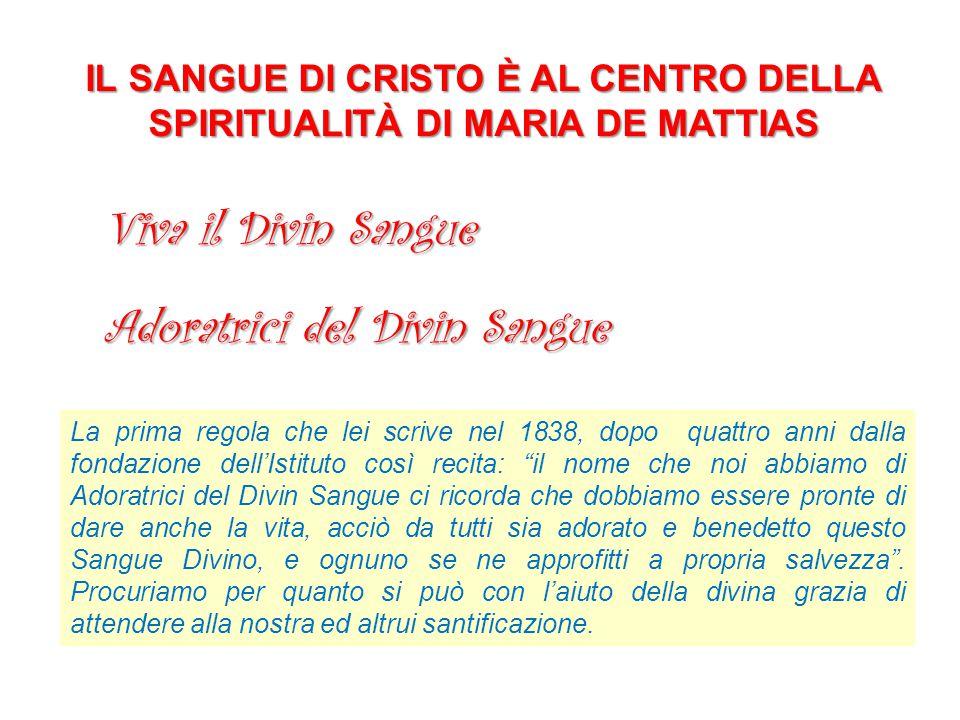 IL SANGUE DI CRISTO È AL CENTRO DELLA SPIRITUALITÀ DI MARIA DE MATTIAS Viva il Divin Sangue La prima regola che lei scrive nel 1838, dopo quattro anni