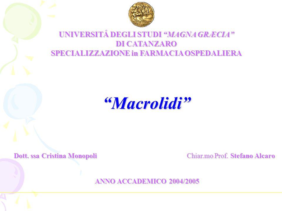 CLASSIFICAZIONE Macrolidi a 14 atomi: eritromicina claritromicina oleandomicina roxitromicina (Gale E.F.
