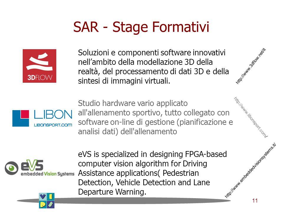 11 SAR - Stage Formativi Soluzioni e componenti software innovativi nell'ambito della modellazione 3D della realtà, del processamento di dati 3D e della sintesi di immagini virtuali.