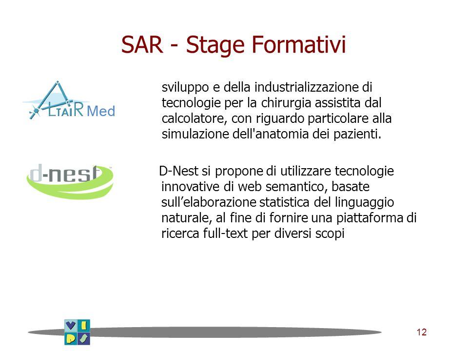 12 SAR - Stage Formativi sviluppo e della industrializzazione di tecnologie per la chirurgia assistita dal calcolatore, con riguardo particolare alla simulazione dell anatomia dei pazienti.