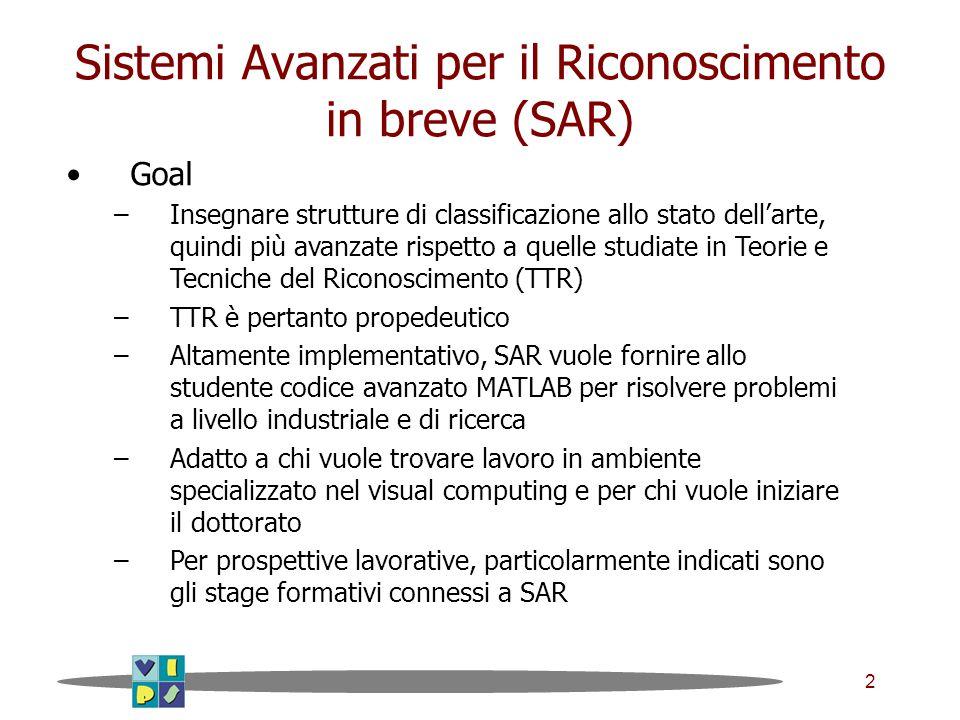 2 Sistemi Avanzati per il Riconoscimento in breve (SAR) Goal –Insegnare strutture di classificazione allo stato dell'arte, quindi più avanzate rispett