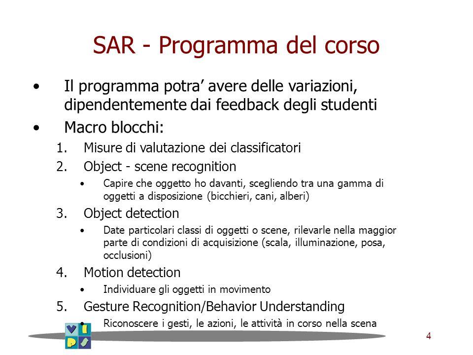 4 SAR - Programma del corso Il programma potra' avere delle variazioni, dipendentemente dai feedback degli studenti Macro blocchi: 1.Misure di valutaz