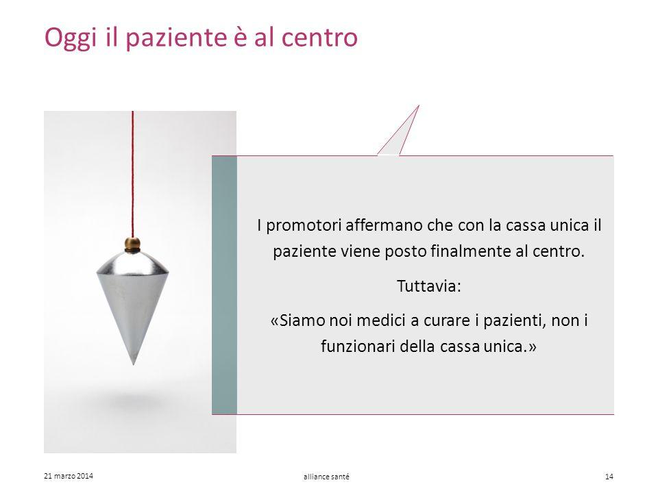 alliance santé 21 marzo 2014 14 Oggi il paziente è al centro I promotori affermano che con la cassa unica il paziente viene posto finalmente al centro
