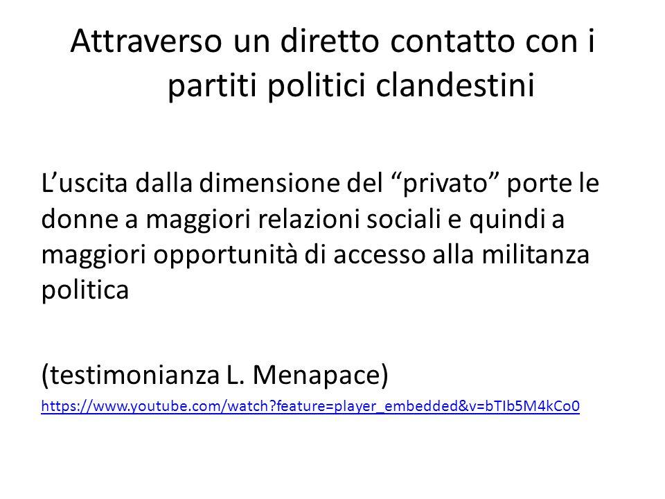 """Attraverso un diretto contatto con i partiti politici clandestini L'uscita dalla dimensione del """"privato"""" porte le donne a maggiori relazioni sociali"""