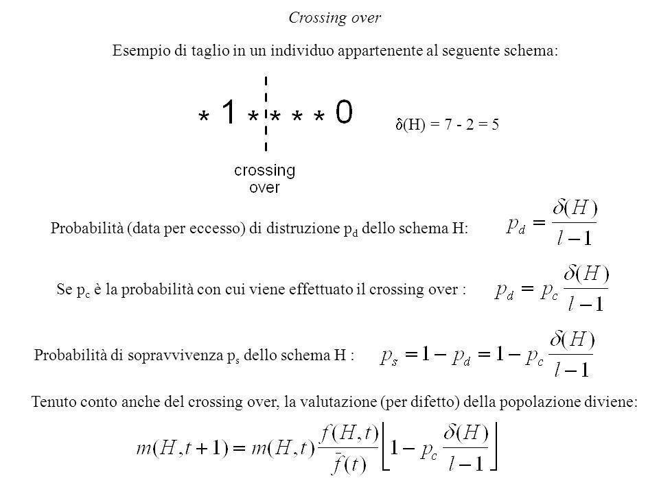 Crossing over Esempio di taglio in un individuo appartenente al seguente schema:  (H) = 7 - 2 = 5 Probabilità (data per eccesso) di distruzione p d dello schema H: Se p c è la probabilità con cui viene effettuato il crossing over : Probabilità di sopravvivenza p s dello schema H : Tenuto conto anche del crossing over, la valutazione (per difetto) della popolazione diviene: