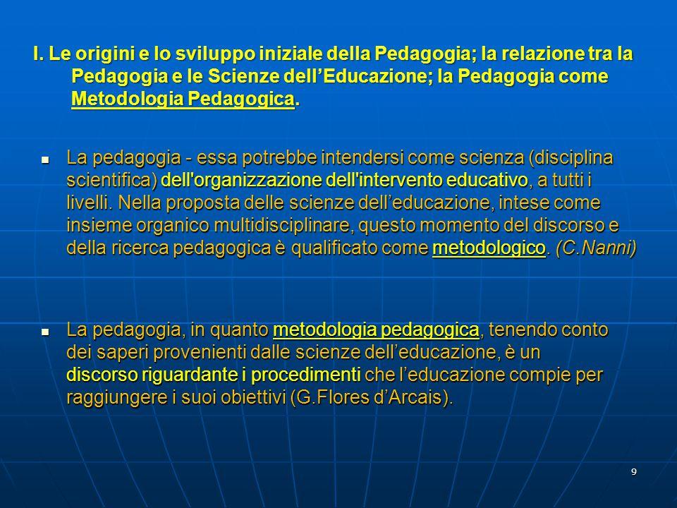 10 La metodologia pedagogica rappresenta il momento centrale della mediazione tra le scienze dell'educazione e definisce il proprium o lo specifico della pedagogia in quanto scienza autonoma (M.Laeng).