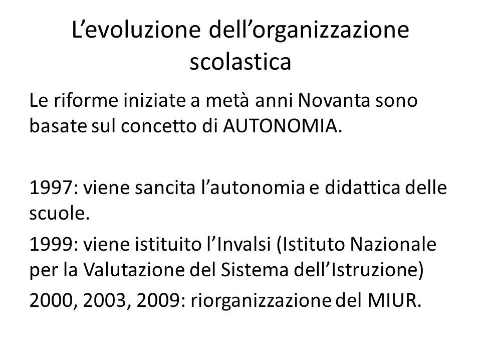 L'evoluzione dell'organizzazione scolastica Le riforme iniziate a metà anni Novanta sono basate sul concetto di AUTONOMIA. 1997: viene sancita l'auton