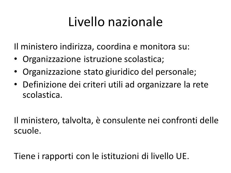 Livello nazionale Il ministero indirizza, coordina e monitora su: Organizzazione istruzione scolastica; Organizzazione stato giuridico del personale;