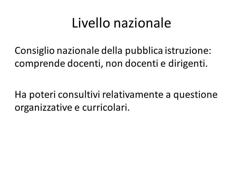 Livello nazionale Consiglio nazionale della pubblica istruzione: comprende docenti, non docenti e dirigenti. Ha poteri consultivi relativamente a ques