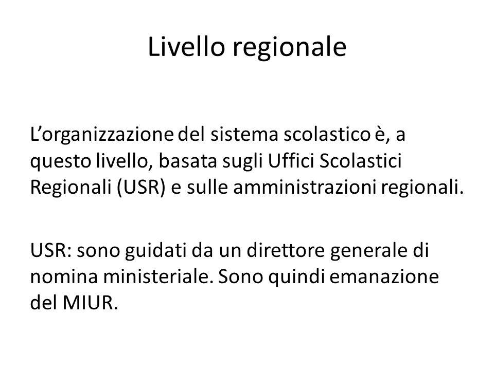 Livello regionale L'organizzazione del sistema scolastico è, a questo livello, basata sugli Uffici Scolastici Regionali (USR) e sulle amministrazioni