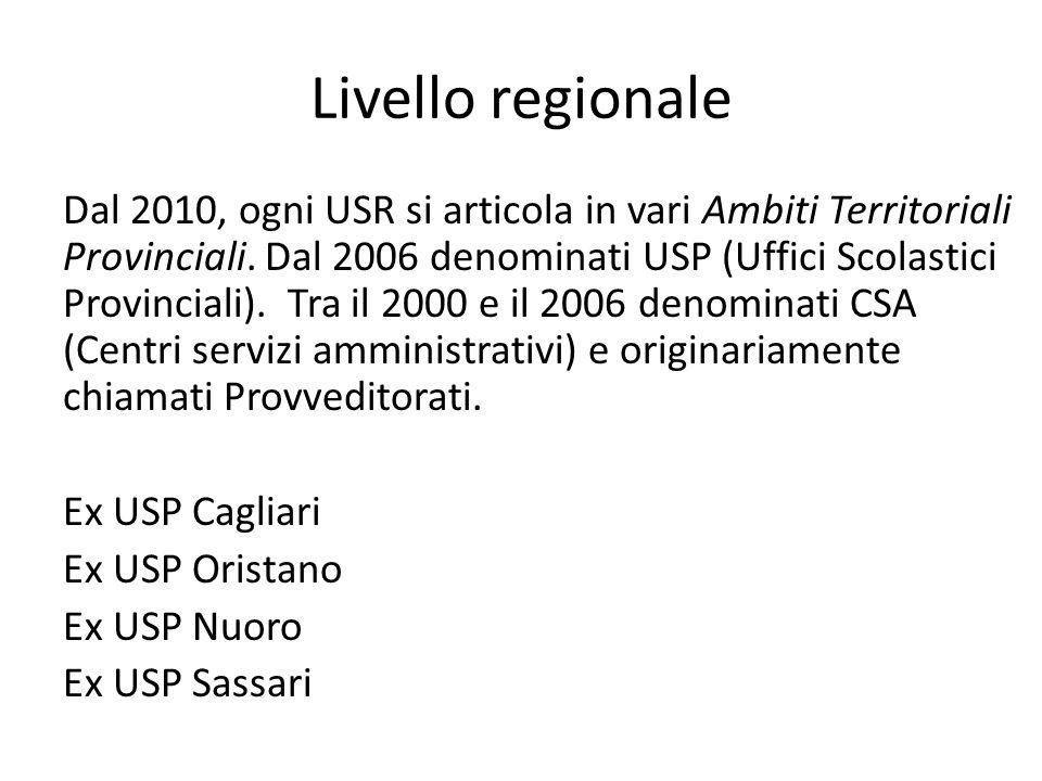 Livello regionale Dal 2010, ogni USR si articola in vari Ambiti Territoriali Provinciali. Dal 2006 denominati USP (Uffici Scolastici Provinciali). Tra