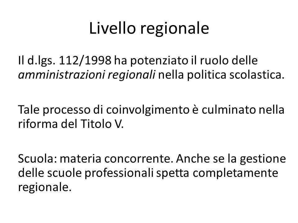 Livello regionale Il d.lgs. 112/1998 ha potenziato il ruolo delle amministrazioni regionali nella politica scolastica. Tale processo di coinvolgimento