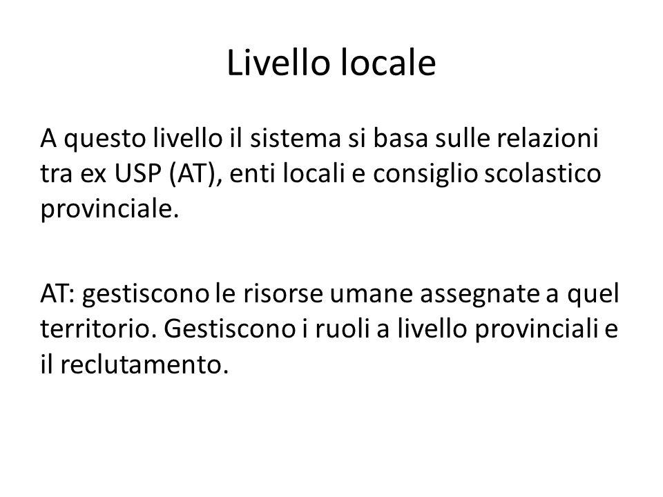 Livello locale A questo livello il sistema si basa sulle relazioni tra ex USP (AT), enti locali e consiglio scolastico provinciale. AT: gestiscono le