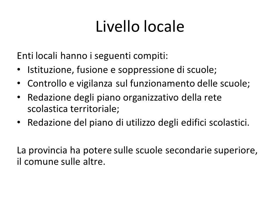 Livello locale Enti locali hanno i seguenti compiti: Istituzione, fusione e soppressione di scuole; Controllo e vigilanza sul funzionamento delle scuo