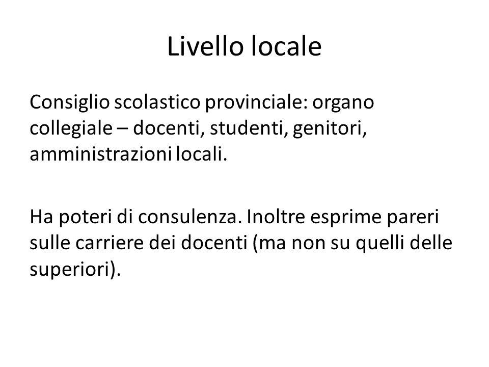 Livello locale Consiglio scolastico provinciale: organo collegiale – docenti, studenti, genitori, amministrazioni locali. Ha poteri di consulenza. Ino