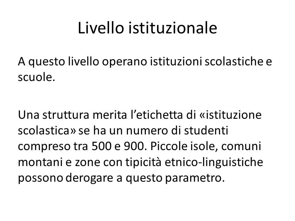 Livello istituzionale A questo livello operano istituzioni scolastiche e scuole. Una struttura merita l'etichetta di «istituzione scolastica» se ha un