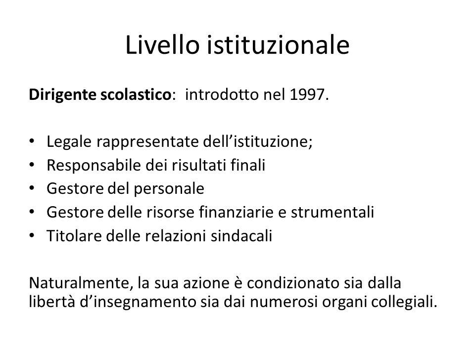 Livello istituzionale Dirigente scolastico: introdotto nel 1997. Legale rappresentate dell'istituzione; Responsabile dei risultati finali Gestore del