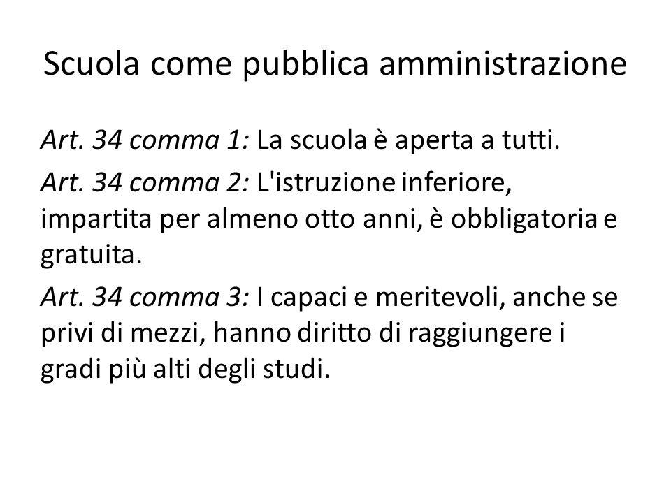 Scuola come pubblica amministrazione Art. 34 comma 1: La scuola è aperta a tutti. Art. 34 comma 2: L'istruzione inferiore, impartita per almeno otto a