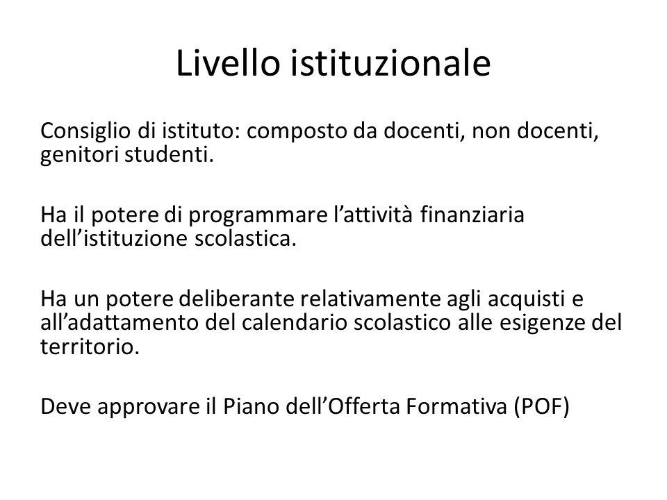 Livello istituzionale Consiglio di istituto: composto da docenti, non docenti, genitori studenti. Ha il potere di programmare l'attività finanziaria d
