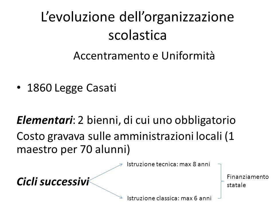 L'evoluzione dell'organizzazione scolastica Accentramento e Uniformità 1860 Legge Casati Elementari: 2 bienni, di cui uno obbligatorio Costo gravava s