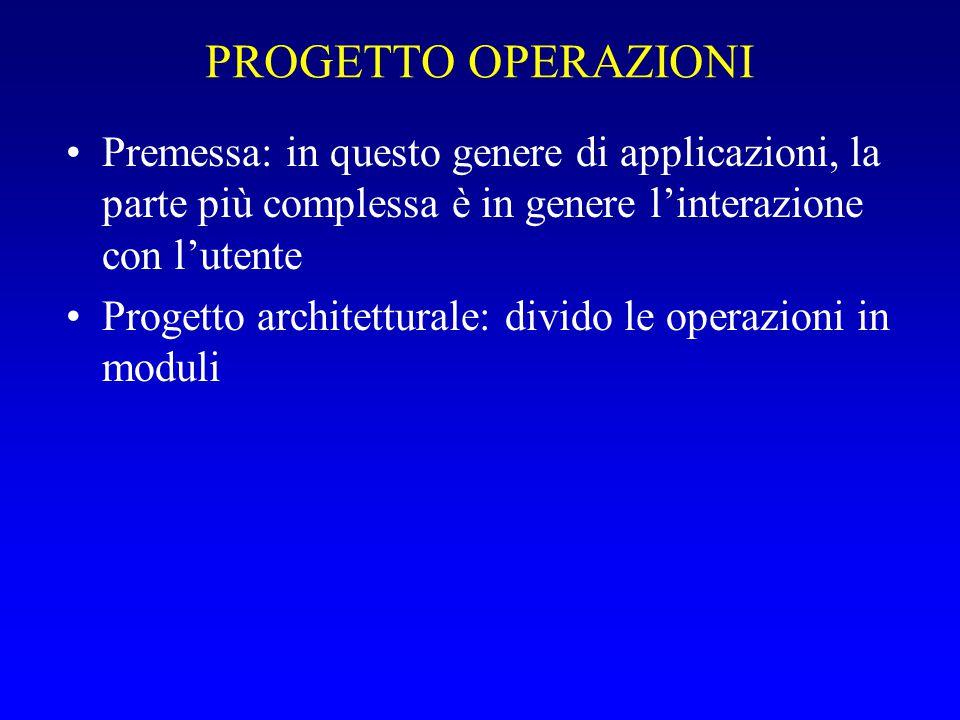 PROGETTO OPERAZIONI Progetto di massima: –Tre tipi di specifica: Operazioni banalissime: basta la tabella scopo/ingresso/uscita/precondizioni/ecc.