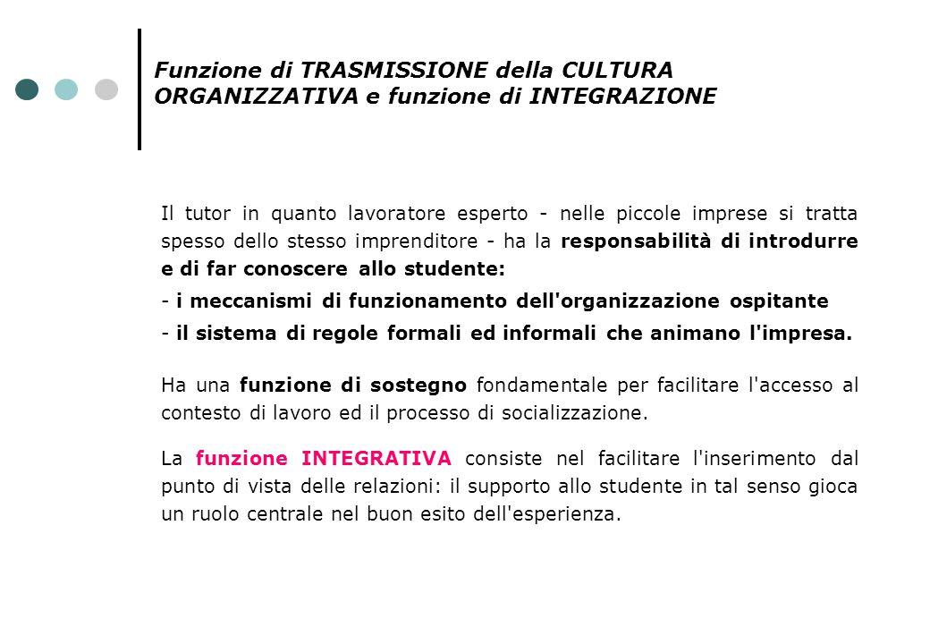 Funzione di TRASMISSIONE della CULTURA ORGANIZZATIVA e funzione di INTEGRAZIONE Il tutor in quanto lavoratore esperto - nelle piccole imprese si tratt