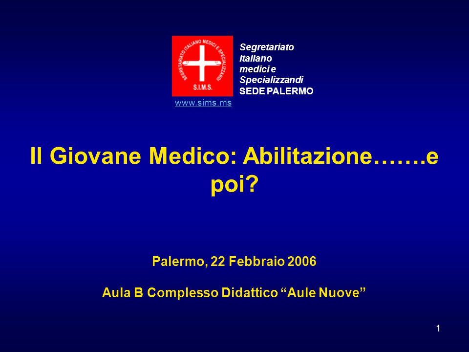 1 Segretariato Italiano edici medici e Specializzandi SEDE PALERMO www.sims.ms Il Giovane Medico: Abilitazione…….e poi? Palermo, 22 Febbraio 2006 Aula
