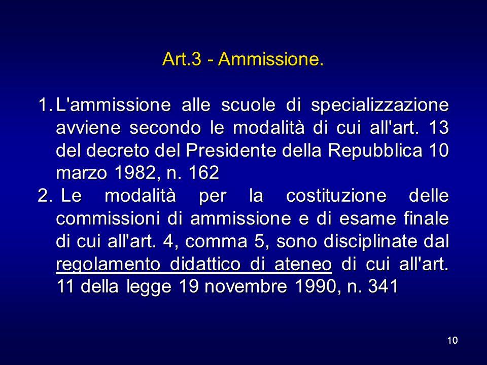 10 Art.3 - Ammissione. 1.L'ammissione alle scuole di specializzazione avviene secondo le modalità di cui all'art. 13 del decreto del Presidente della