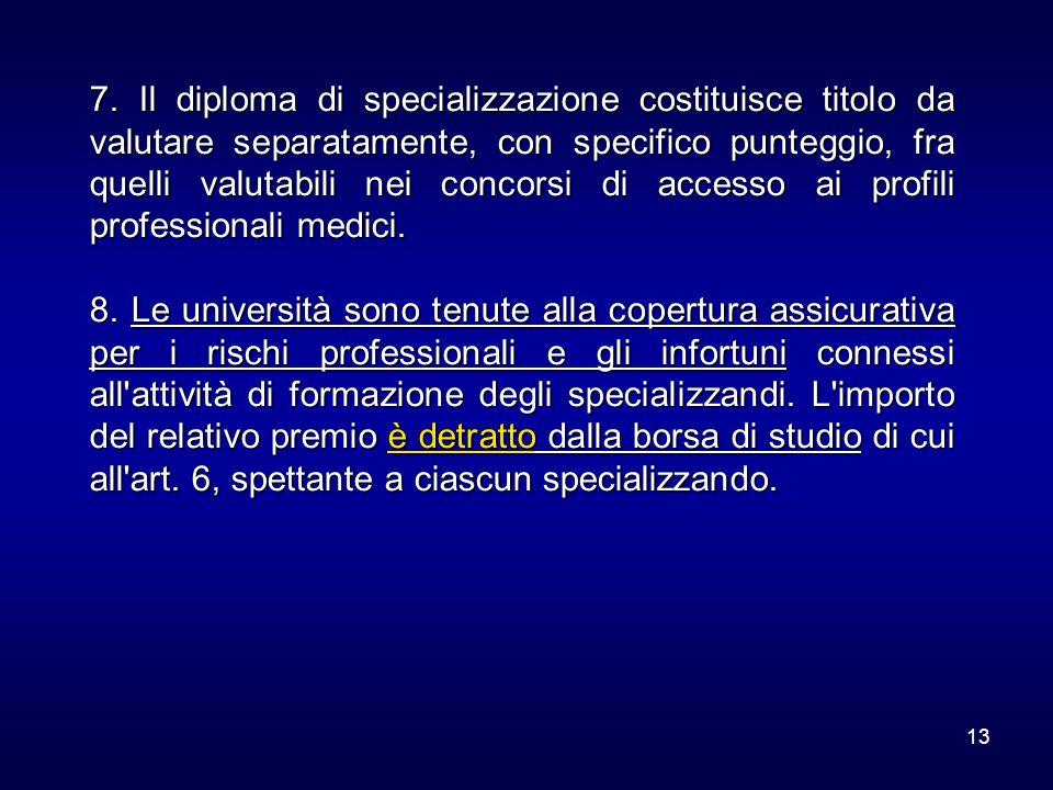 13 7. Il diploma di specializzazione costituisce titolo da valutare separatamente, con specifico punteggio, fra quelli valutabili nei concorsi di acce
