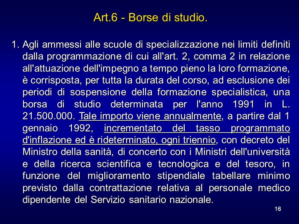 16 Art.6 - Borse di studio. 1.Agli ammessi alle scuole di specializzazione nei limiti definiti dalla programmazione di cui all'art. 2, comma 2 in rela