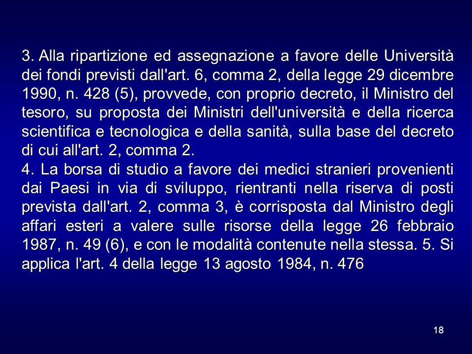 18 3. Alla ripartizione ed assegnazione a favore delle Università dei fondi previsti dall'art. 6, comma 2, della legge 29 dicembre 1990, n. 428 (5), p