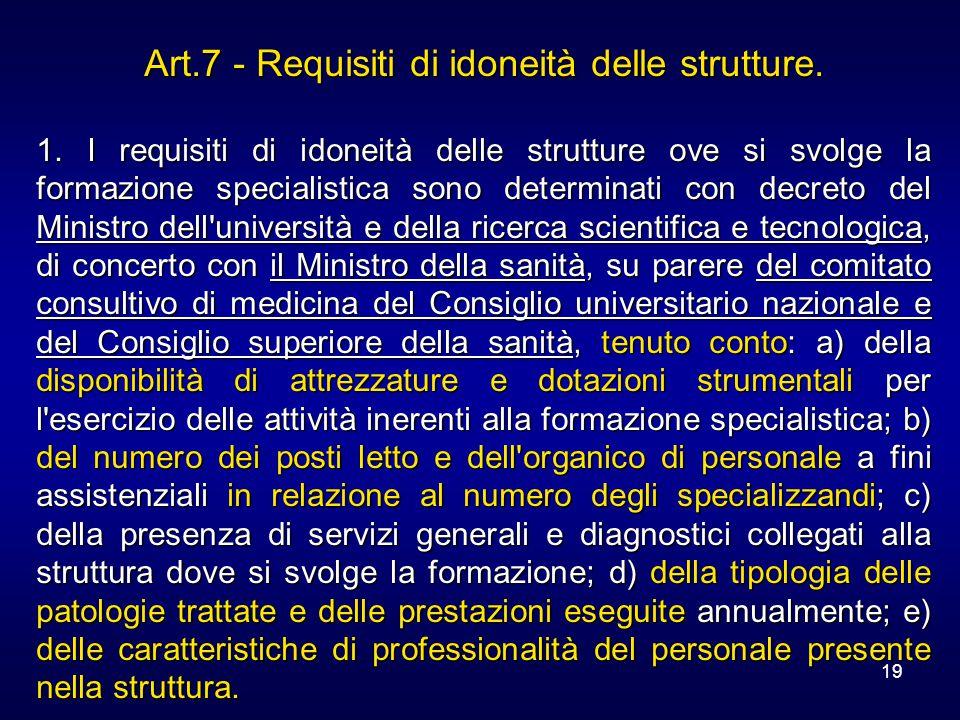 19 Art.7 - Requisiti di idoneità delle strutture. 1. I requisiti di idoneità delle strutture ove si svolge la formazione specialistica sono determinat