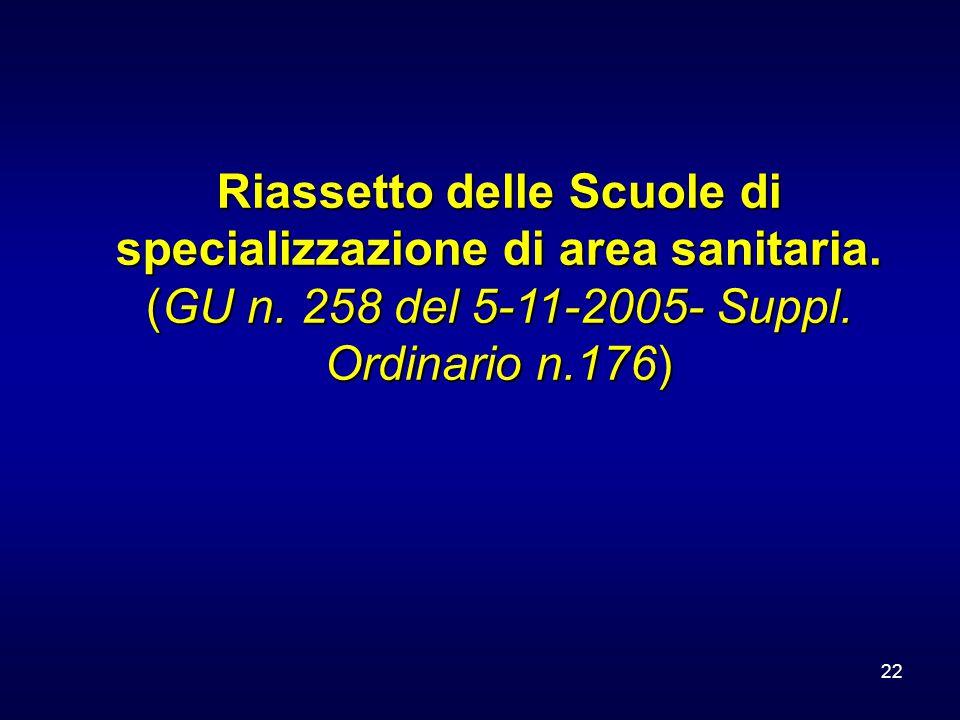 22 Riassetto delle Scuole di specializzazione di area sanitaria. (GU n. 258 del 5-11-2005- Suppl. Ordinario n.176)