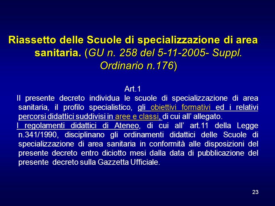 23 Riassetto delle Scuole di specializzazione di area sanitaria. (GU n. 258 del 5-11-2005- Suppl. Ordinario n.176) Art.1 Il presente decreto individua