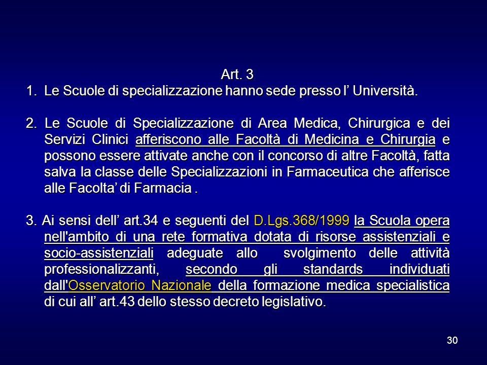 30 Art. 3 1.Le Scuole di specializzazione hanno sede presso l' Università. 2. Le Scuole di Specializzazione di Area Medica, Chirurgica e dei Servizi C