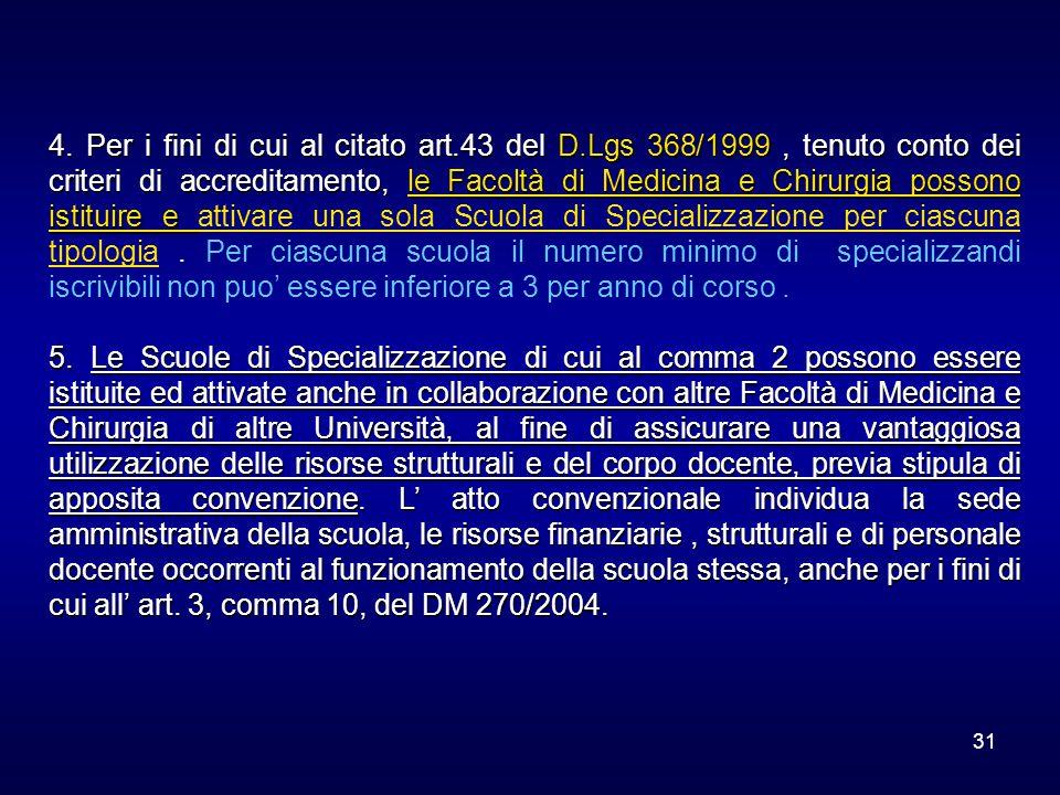 31 4. Per i fini di cui al citato art.43 del D.Lgs 368/1999, tenuto conto dei criteri di accreditamento, le Facoltà di Medicina e Chirurgia possono is