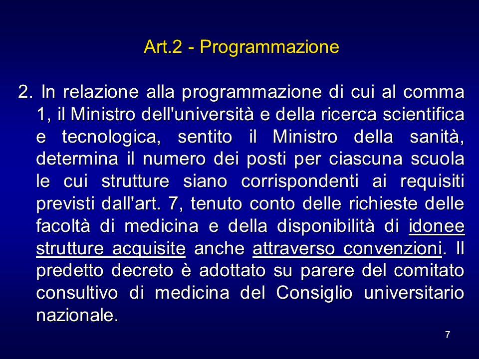 7 Art.2 - Programmazione 2. In relazione alla programmazione di cui al comma 1, il Ministro dell'università e della ricerca scientifica e tecnologica,