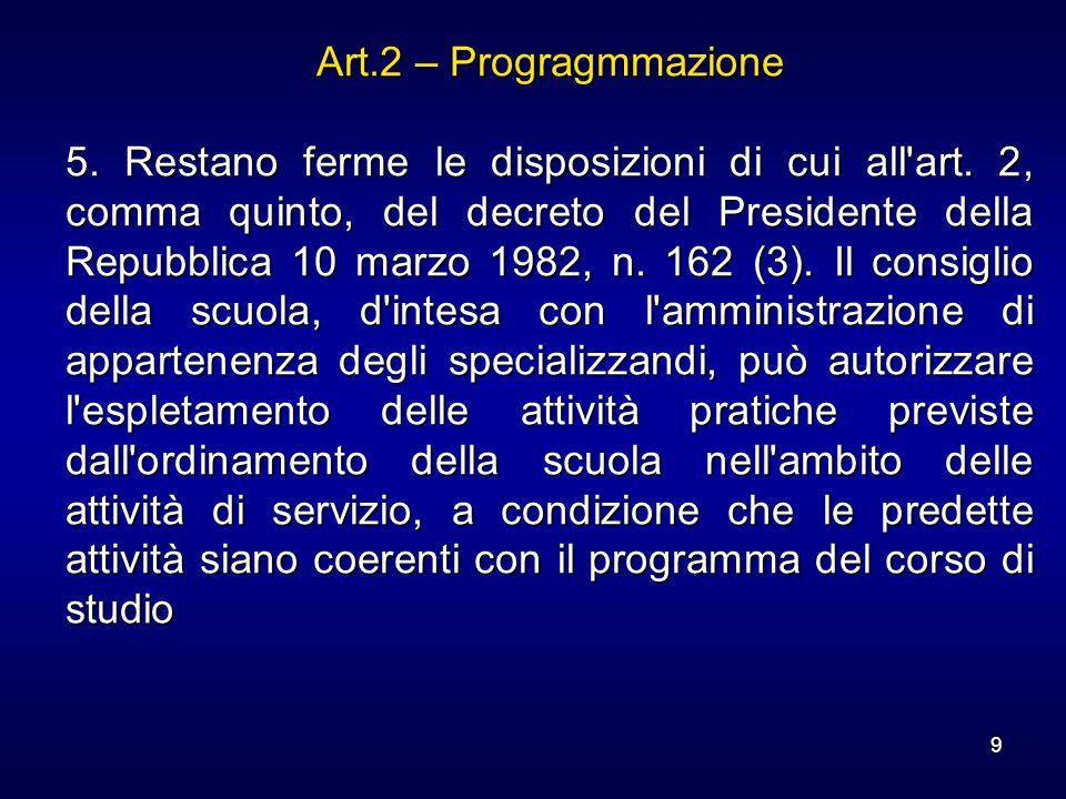 9 Art.2 – Progragmmazione 5. Restano ferme le disposizioni di cui all'art. 2, comma quinto, del decreto del Presidente della Repubblica 10 marzo 1982,