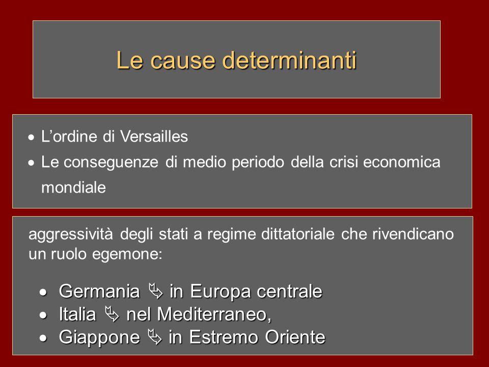  L'ordine di Versailles  Le conseguenze di medio periodo della crisi economica mondiale aggressività degli stati a regime dittatoriale che rivendica