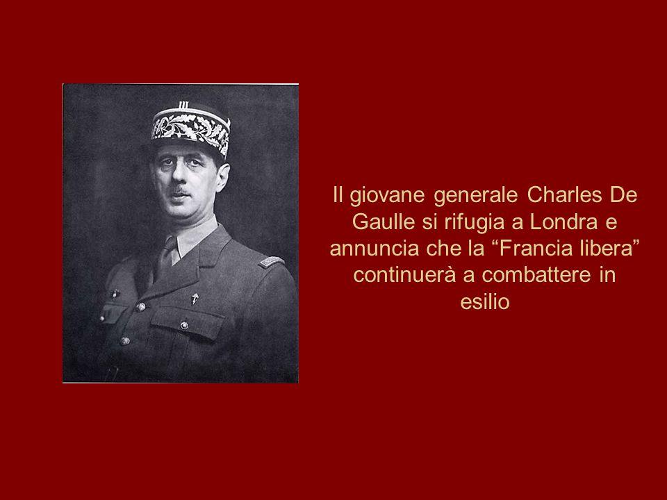 """Il giovane generale Charles De Gaulle si rifugia a Londra e annuncia che la """"Francia libera"""" continuerà a combattere in esilio"""