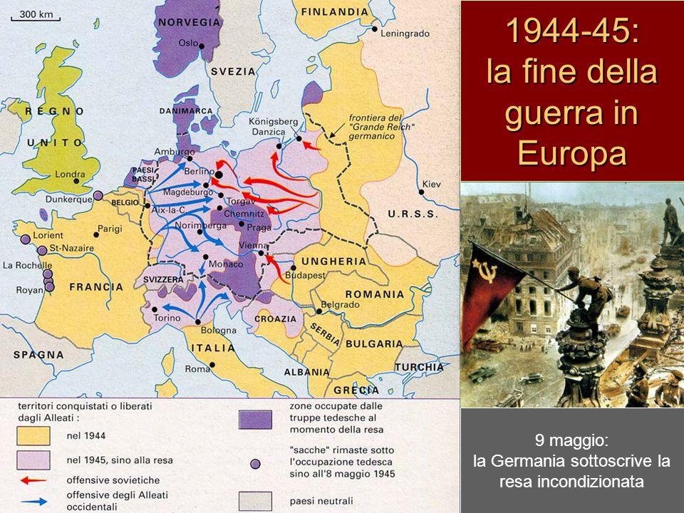 25 agosto 1944: gli alleati entrano in Parigi settembre-ottobre: l'armata rossa entra a Bucarest, Belgrado e Sofia dicembre: controffensiva tedesca nella Ardenne 17 gennaio 1945: l'armata rossa entra in Varsavia 2 maggio: l'armata rossa conquista Berlino 1944-45: la fine della guerra in Europa 9 maggio: la Germania sottoscrive la resa incondizionata