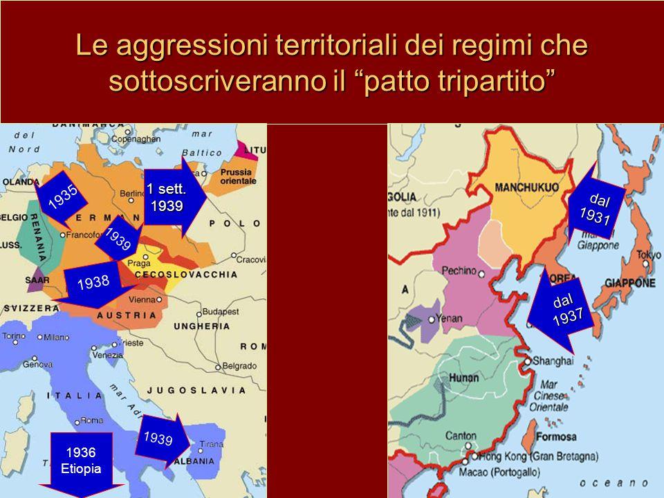 """Le aggressioni territoriali dei regimi che sottoscriveranno il """"patto tripartito"""" 1936 Etiopia dal1937 dal1931 1939 1935 1938 1 sett. 1939 1939"""