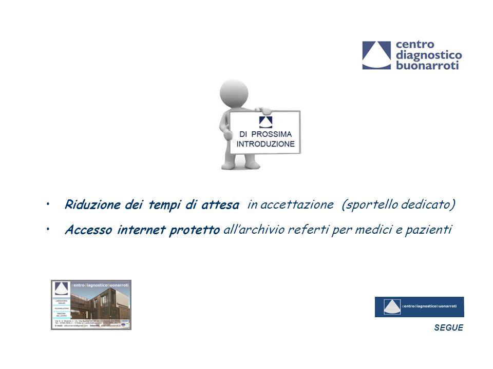 Riduzione dei tempi di attesa in accettazione (sportello dedicato) Accesso internet protetto all'archivio referti per medici e pazienti SEGUE