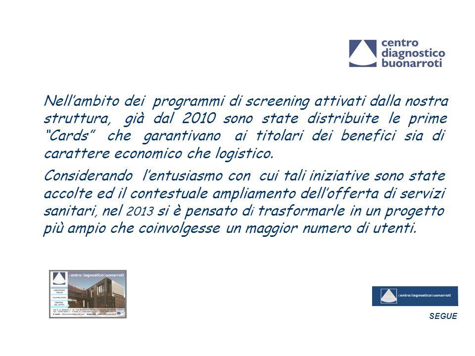 """Nell'ambito dei programmi di screening attivati dalla nostra struttura, già dal 2010 sono state distribuite le prime """"Cards"""" che garantivano ai titola"""