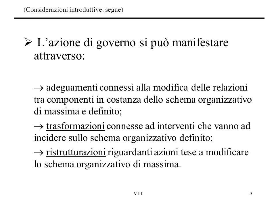 VIII4 Decisioni Preliminari Decisioni Operative Decisioni di Governo Predisposizione s.