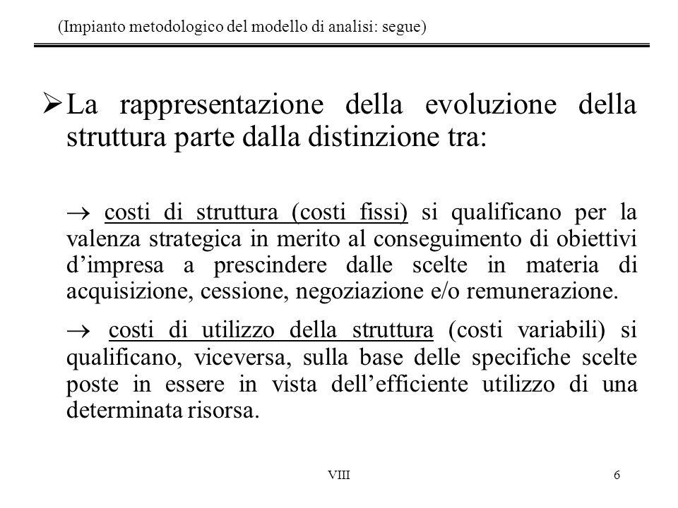 VIII6 (Impianto metodologico del modello di analisi: segue)  La rappresentazione della evoluzione della struttura parte dalla distinzione tra:  costi di struttura (costi fissi) si qualificano per la valenza strategica in merito al conseguimento di obiettivi d'impresa a prescindere dalle scelte in materia di acquisizione, cessione, negoziazione e/o remunerazione.