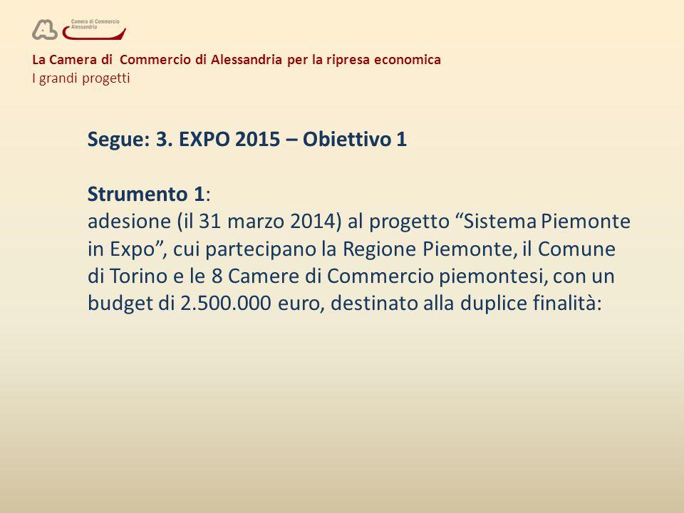 La Camera di Commercio di Alessandria per la ripresa economica I grandi progetti Segue: 3.