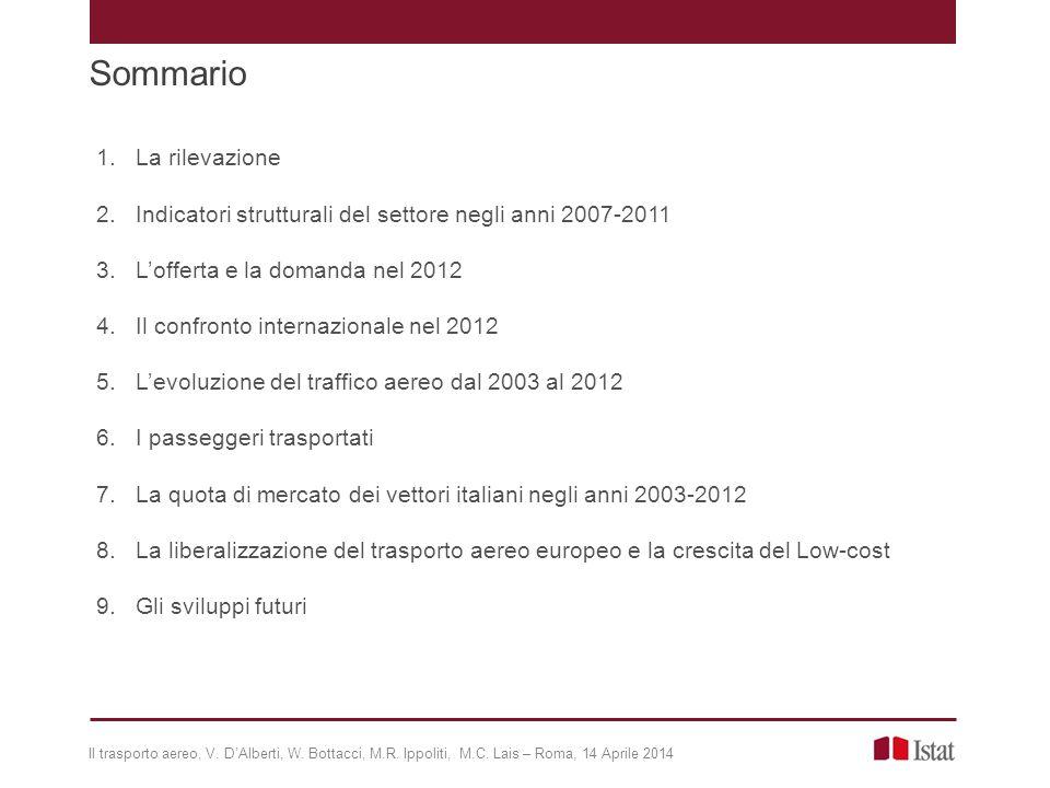 Sommario Il trasporto aereo, V. D'Alberti, W. Bottacci, M.R. Ippoliti, M.C. Lais – Roma, 14 Aprile 2014 1.La rilevazione 2.Indicatori strutturali del