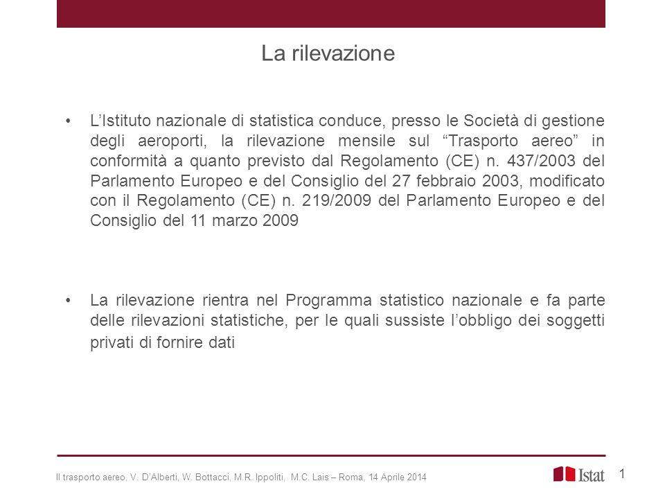 La rilevazione, a carattere totale, è effettuata a cadenza mensile, presso le Società di gestione degli aeroporti italiani, che registrano un traffico annuo di passeggeri superiore a 15.000 unità.