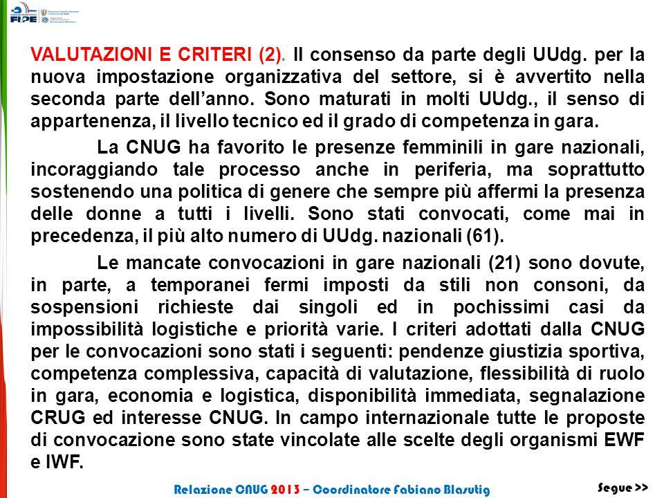 VALUTAZIONI E CRITERI (2). Il consenso da parte degli UUdg. per la nuova impostazione organizzativa del settore, si è avvertito nella seconda parte de